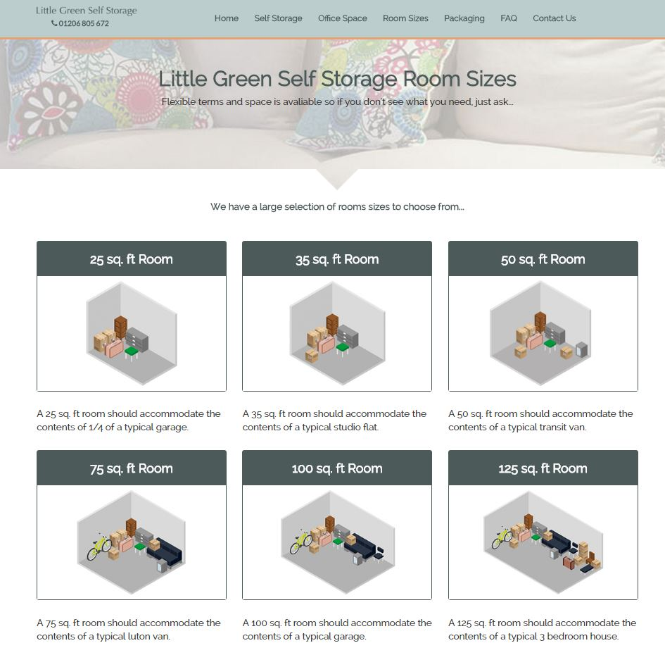 Little Green Self Storage - Room Sizes