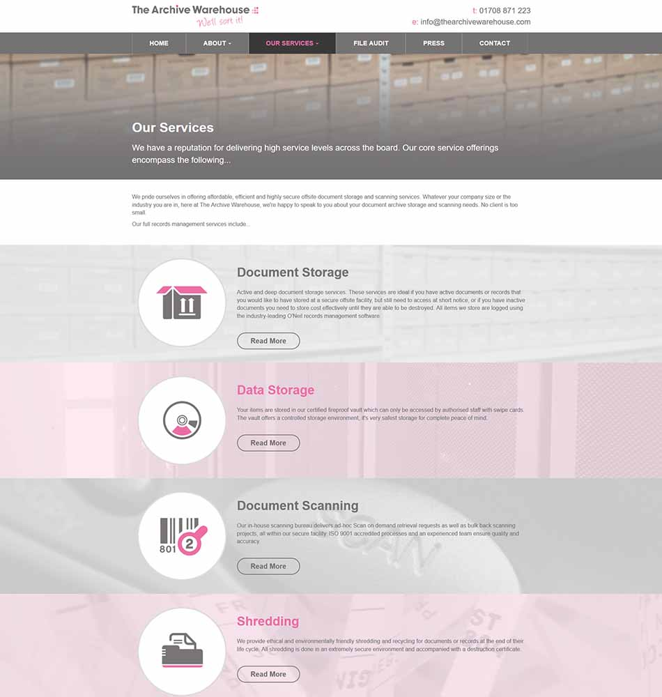 The Archive Warehouse Website Design